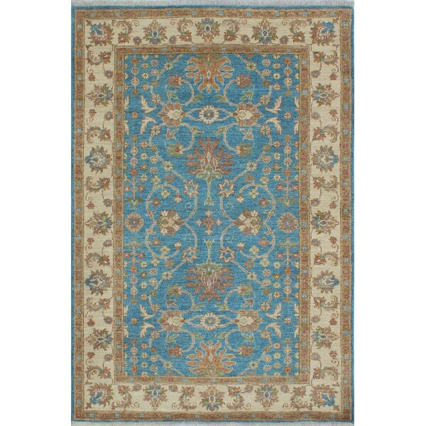 Longoria Chobi Knotted 100% Wool Rectangle Blue Area Rug by Canora Grey